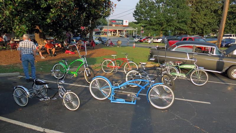 Several custom bicycles were on display.