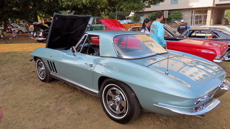 This car is finished in Trophy Blue, the second rarest color for that year (behind Tuxedo Black).  A total of 1,463 Corvettes were painted Trophy Blue in 1966.