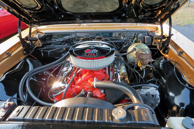 The 396 CID V8 was available in three stages of tune in a 1967 Chevelle.  This car has the middle option RPO L34 that makes 350 hp, (in between RPO L35 325 hp and RPO L78 375 hp).