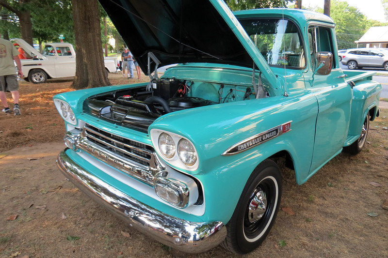 1959 Chevrolet Apache 31 pickup.<br /> <br /> This is the first of three Chevrolet Apache pickups on display today.