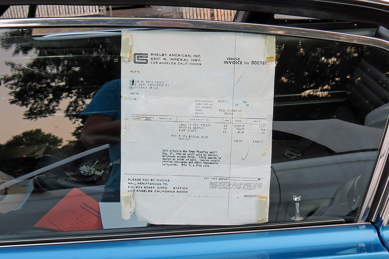 In addition to the Shelby fender tag, this car was also displayed with a copy of its original invoice.  In the world of collector cars, especially valuable collector cars like anything with the name Shelby, there is no such thing as too much documentation !