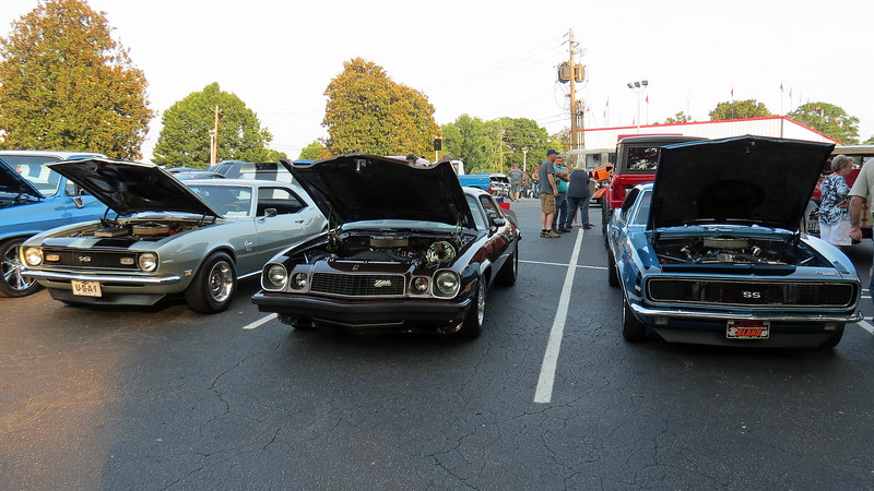 A trio of Chevrolet Camaros (L-R):  1968 SS350, 1977 Z28, 1967 RS/SS.