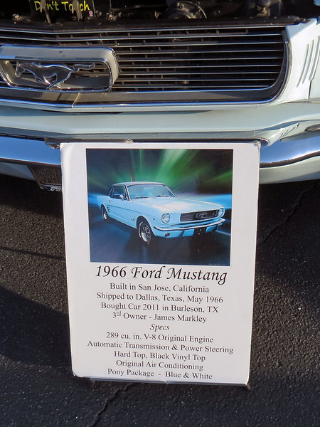 The display sign identifies this car as an original 289 car with the Pony interior trim package.