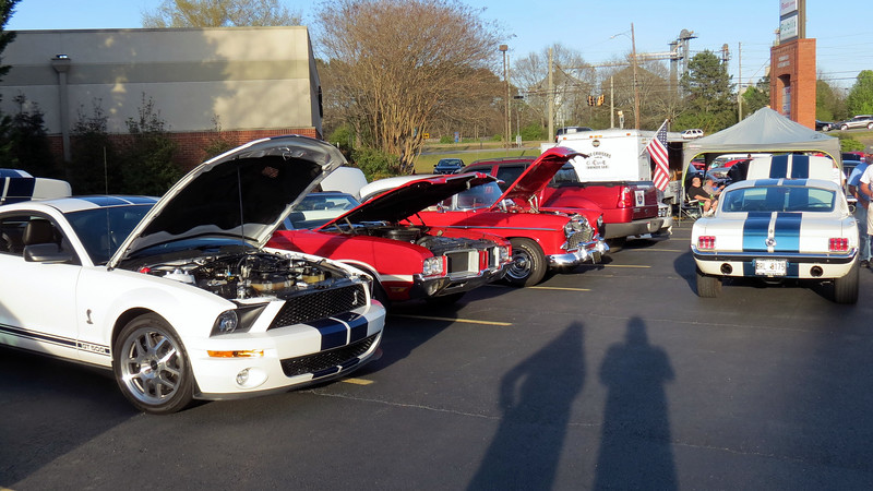L - R:  Shelby GT500, 1971 Oldsmobile 442 convertible, 1955 Chevrolet Bel Air, 1965 Ford Mustang Gt.