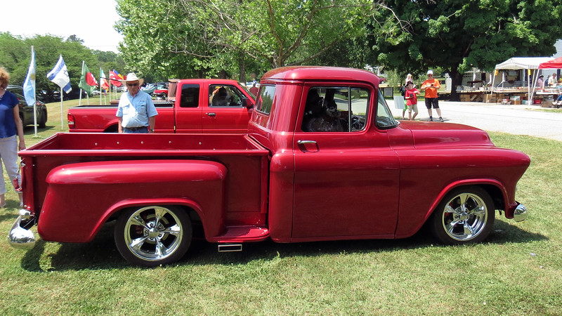 """This is a 1955 or 1956 Chevrolet 3100 Series truck.  The platform is officially called the """"Task Force"""" and was introduced in 1955 replacing the """"Advanced Design"""" platform from the 1940s."""