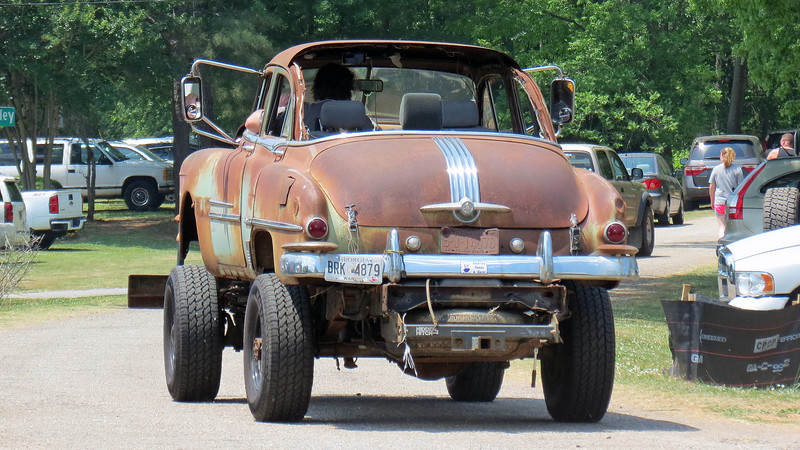 """The """"Rat Rod"""" has been a fixture in the hobby for decades.  The idea is pretty simple:  Build whatever you can with whatever you have to work with.  In this case, it looks like the builder took a 1952 Pontiac sedan and mounted it on top of a 4x4 chassis."""