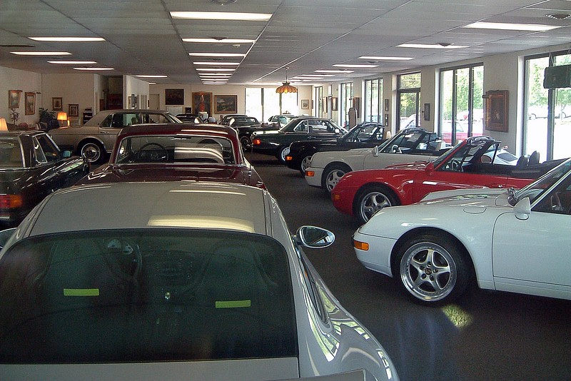 The inside of the primary showroom was filled mainly with Porsches, although I see a Roller and a few SL-Class roadsters in there as well.  All of the exotics make the 1963 Chevrolet Impala in the middle of the photo look out of place.