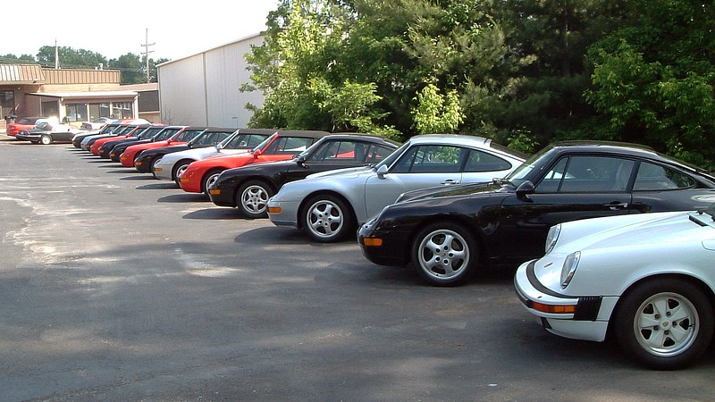 Across from the Jaguars was a row devoted entirely to the Porsche 911.