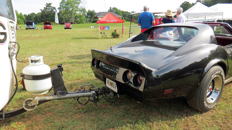 It's not unusual to see a Corvette at a car show, (it's expected, actually).  But I don't ever recall seeing a Corvette with a trailer hitch pulling a camper before.
