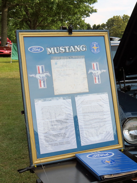 This is one of two original owner cars on display today, (coincidentally, both cars are from 1965).  The display sign seen in the photo above tells a familiar story.<br /> <br /> The car owner purchased this car new in nearby Decatur, Georgia in June 1965.  But he only got to enjoy his new ride for around 6 months before being drafted.  After his military service was finished, he settled back into normal life where the Mustang became his daily driver.  A subsequent truck purchase saw the car parked in the garage where it remained for many years.