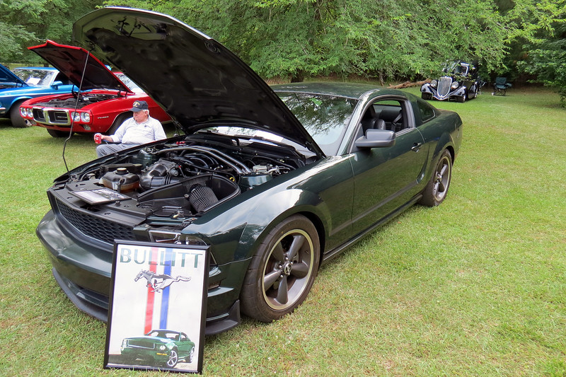 Ford Mustang Bullitt edition.<br /> <br /> This is the second revival of the Bullitt model made famous by the Steve McQueen film of the same name.  The paint color is the same Dark Highland Green made famous by the 1968 movie car.