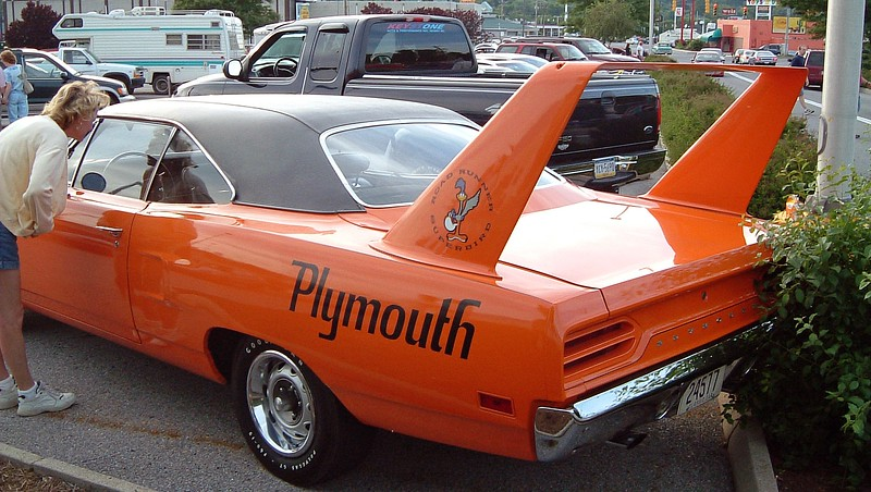 """1970 Plymouth Superbird:  This car features a 440 CID V8, (not sure if it was the base 4bbl or optional Six-Barrel), and a """"Pistol Grip"""" 4-speed manual transmission.  A total of 1,920 Superbirds were produced."""