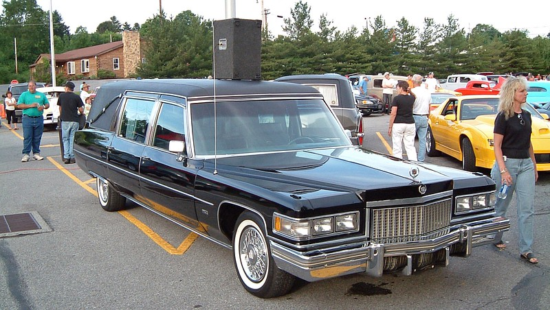 1975 Cadillac Hearse:  This car belonged to one of the board members of the BCAAC.  Mr. Feathers was a walking encyclopedia of Cadillac and Buick facts, figures, codes, and specs.  He owned several of each.  I used to store my 1965 Cadillac convertible at his garage.