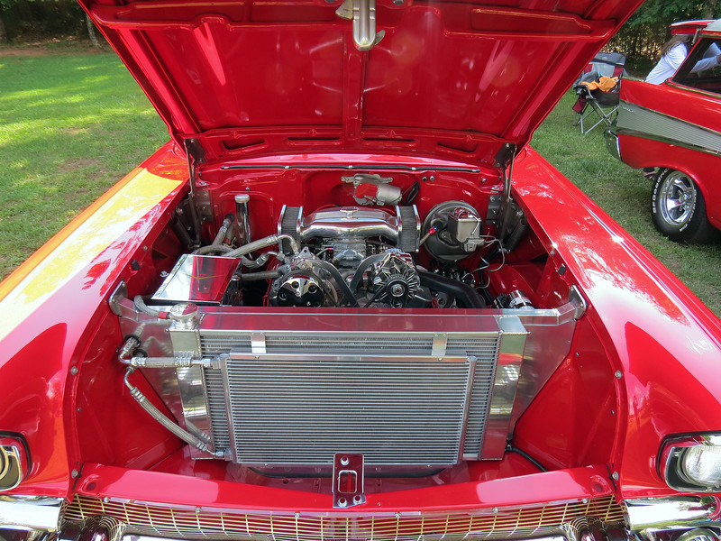 Under the hood of the sedan.  Both cars feature the exact same modification style with a few subtle differences between the two.