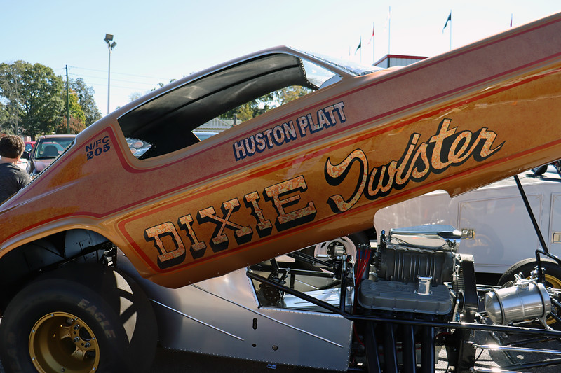 "Platt called his car the ""Dixie Twister,"" of which there were several versions.  The original car was a 1963 Chevy II Nova powered by a 427 CID version of Chevrolet's famous ""W"" series engine.  That Nova was retired in favor of a new 1966 Chevy II Nova.  The engine was upgraded to a 427 CID Big Block with a Hilborn injection system.  Not only was the new car faster, it quickly became the fastest unblown Chevrolet in the country."