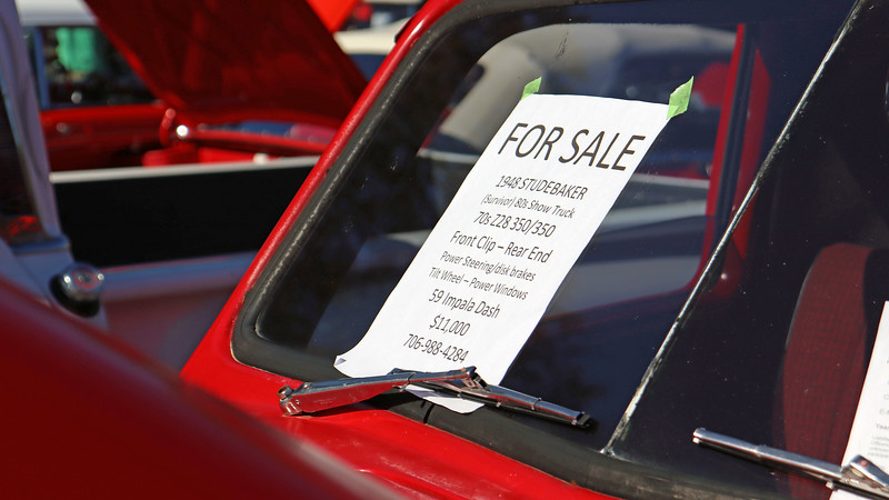 "The ""For Sale"" sign described this truck as a 1980s show truck that has been extensively modified."