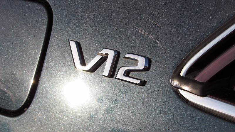 """I noticed the car because of the beautiful dark green color.  But the """"V12"""" emblem on the c-pillar got my attention !"""