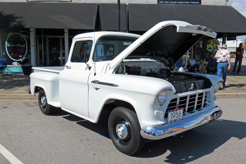 A stunning 1956 Chevrolet 3100 Series 1/2 ton pickup.