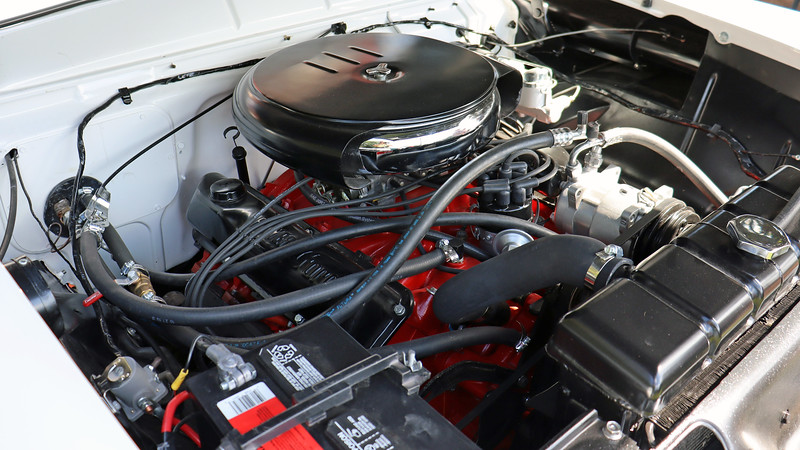 """Power should come from Ford's 312 CID V8 that makes 235 hp.  However, the distributor on a 312 """"Y-Block"""" is in the back of the engine, and the valve covers are bolted from the center.  So this car has had its engine replaced at some point."""