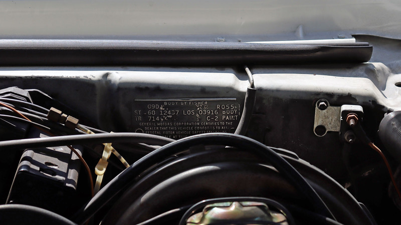 This car was built at the Los Angeles assembly plant.  Unlike those from the Norwood, Ohio assembly plant, cowl tags from Los Angeles don't provide as much information about the car.  Nonetheless, this cowl tag breaks down as follows:  <br /> <br /> 09D = Build date:  4th week of September.<br /> R055 = Internal body scheduling code.<br /> ST  68 12437 = Model year and style code:  1968 V8 Camaro hardtop coupe.<br /> LOS 03916 BODY = Assembly plant, (Los Angeles, California) and Fisher Body number.<br /> TR 714 = Interior trim code:  Black custom bucket seats.<br /> C-2 PAINT = Exterior paint color and top code:  Ermine White with a black vinyl top.