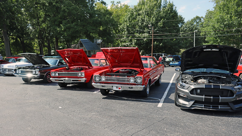 L - R:  1969 Ford Torino Cobra Jet, 1968 Plymouth Road Runner, 1967 Plymouth Belvedere, new Shelby GT350-R.
