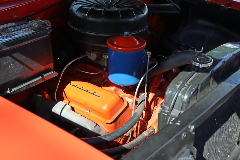 """On this 1955 model, power comes from Chevrolet's 265 CID V8.  This was the first year for the legendary Chevrolet """"Small Block"""" V8."""