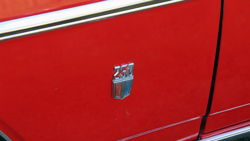 The small badge on the front fender identifies this car as originally having Chevrolet's 250 CID inline 6-cylinder engine under the hood.