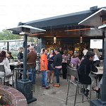 The patio was enjoyed by many on a beautiful evening.