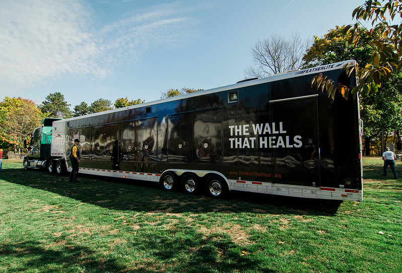 """The Wall That Heals"" arrives at Leominster's Carter Park. The 250-foot replica of the Vietnam Wall traveled through the city on Wednesday morning and will be stationed at Carter Park through Sunday. SENTINEL & ENTERPRISE / Ashley Green"