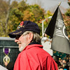 "Bob Bray, a U.S. Army veteran from the Vietnam War, holds a Prison of War / Missing In Action flag as ""The Wall That Heals"" arrives at Leominster's Carter Park on Wednesday afternoon. The 250-foot replica of the Vietnam Wall traveled through the city on Wednesday morning and will be stationed at Carter Park through Sunday. SENTINEL & ENTERPRISE / Ashley Green"