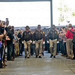 The Soldiers from the Warrior Transition Battalion at Ft. Knox, were led by members of the Jefferson County Sheriff\'s Office Honor Guard to the receiving area.