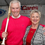 Fred and Pat Walker with their Johnny Bench Louisville Slugger.
