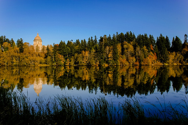 Washington State Capitol from Deschutes Parkway - Late Afternoon