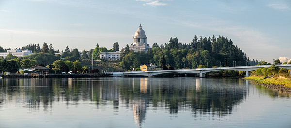 The Washington State Capitol and $th Ave Bridge From Budd Inlet