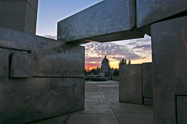 Washington State Capitol from Transportation Building - Winter Sunset
