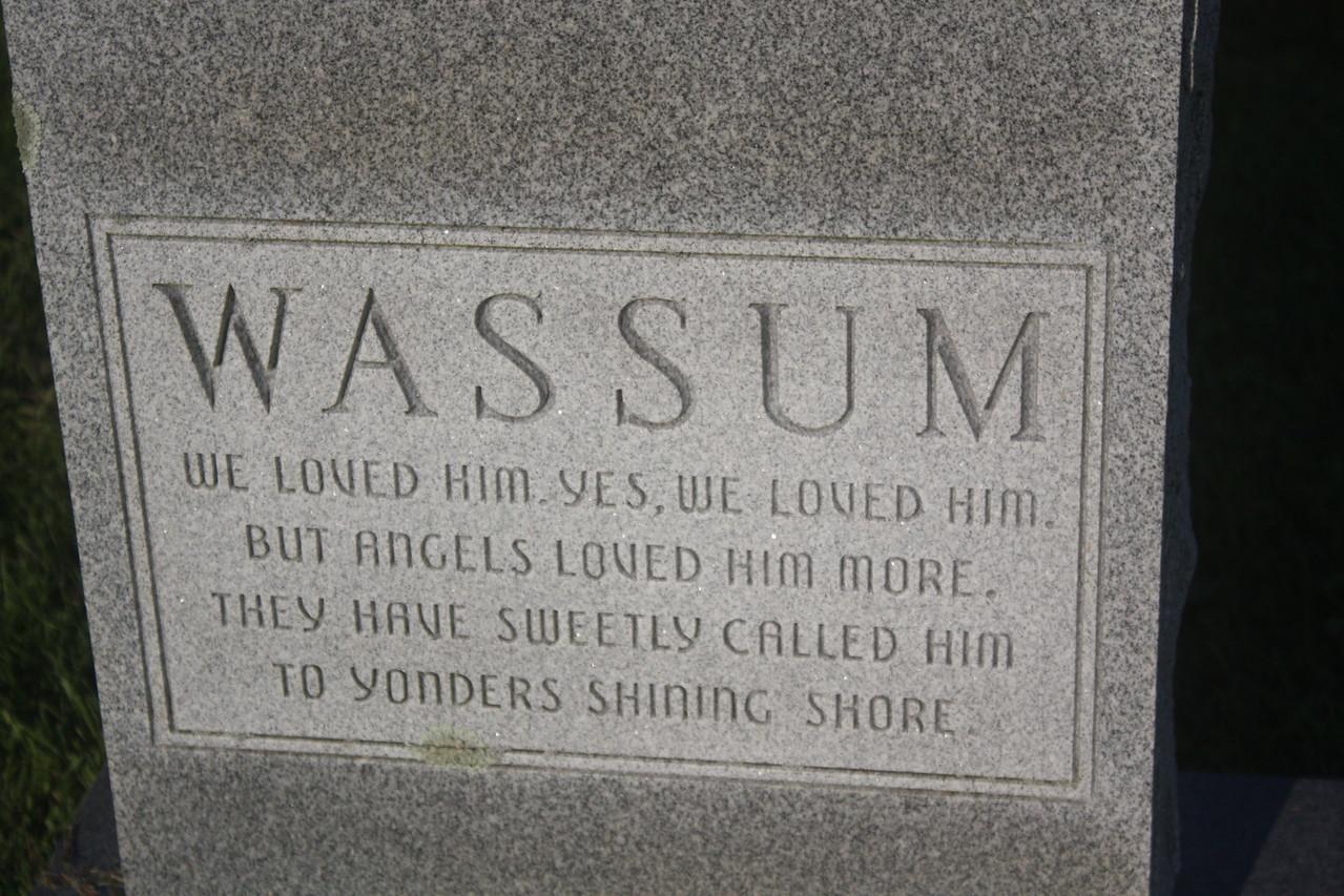 Back of gravestone for William N. Wassum