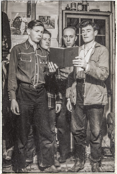 my father, his brother Henry, and two friends 1949.
