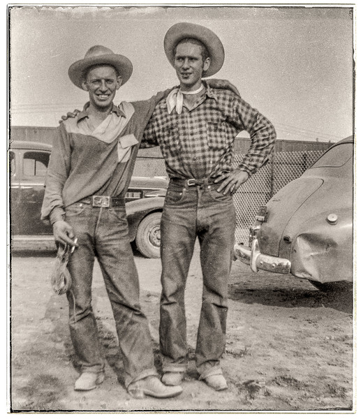 two unknown cowboys at the Cloverdale Rodeo 1950ish.