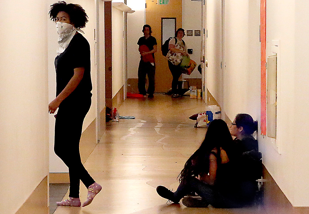 . Students occupy Kerr Hall at UC Santa Cruz Wednesday to bring attention to social justice and racial bias issues on campus. (Shmuel Thaler -- Santa Cruz Sentinel)