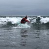 """Jose carving a turn in his new """"used"""" short boat."""