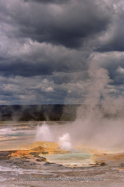 Geyser in Storm, Yellowstone NP