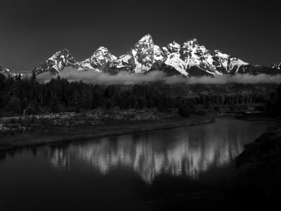 """Grand Tetons Morning in Black and White"" Grand Teton Yellowstone National Park, Wyoming."