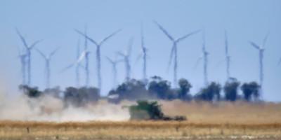 Murra Warra Wind Farm, harvesting in heat haze.