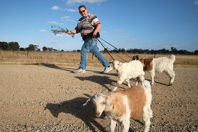 Nhill: Wendy, taking the kids for a walk near her home.