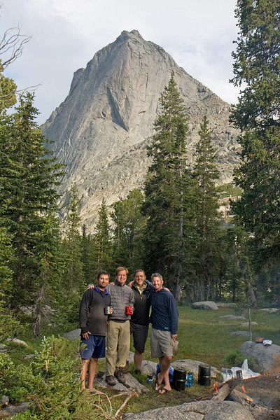 The crew at our campsite near Lonesome Lake. We had a great fire going much of the time, and had an unreal view of Mitchell Peak, which loomed directly over our site. This site also happens to be the birthplace of the new belief system...