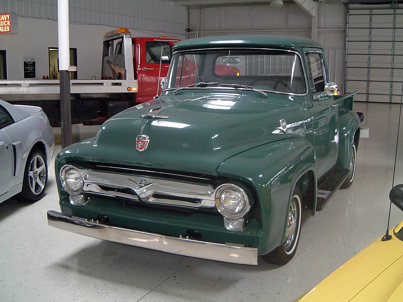 This fully restored 1956 Ford F100 pickup was traded in on a new Ford F150 Lightning pickup.