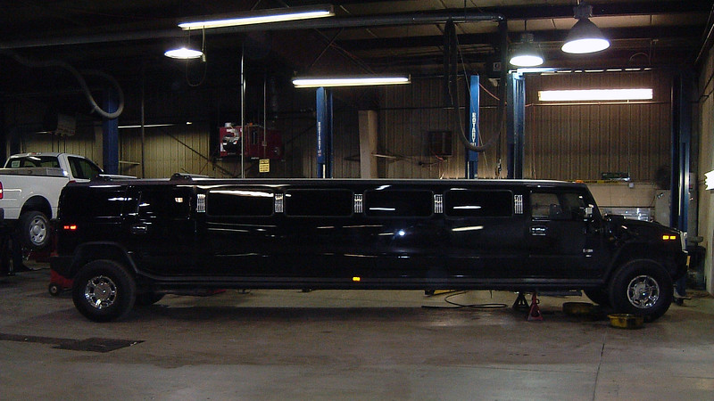 I always enjoy seeing the occasional oddball vehicle come through the shop.  On this day, a local limousine company brought a Hummer H2 stretch limo in for a transmission and transfer case service.