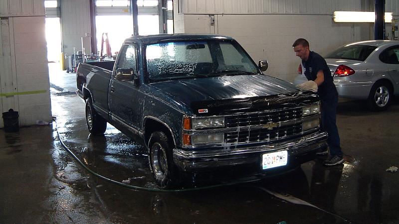 Technician Jeff was washing his truck.