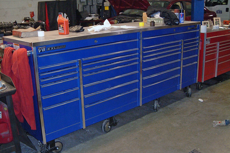 Diesel tech, Aaron, just bought a new tool box recently.  This is one 12-foot long toolbox.