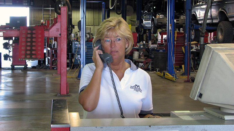 Marsha from the business office wandered inside to use the phone.